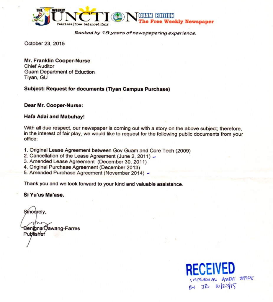 Tijan Campus Purchase documents letter 2
