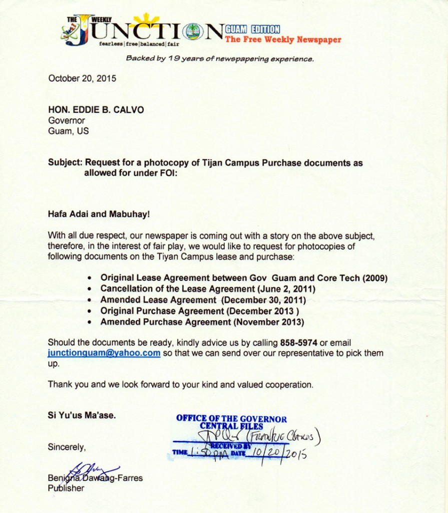 Tijan Campus Purchase documents letter